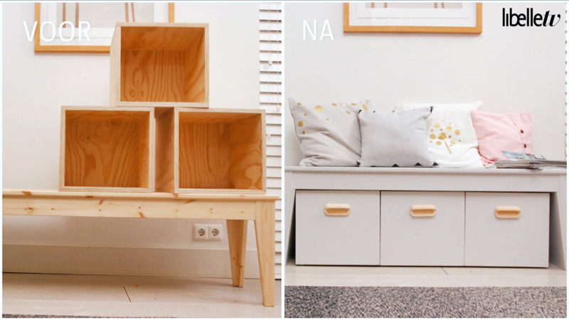 diy ikeahack 2 houten bankje met opbergbakken libelle tv. Black Bedroom Furniture Sets. Home Design Ideas